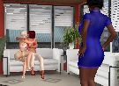 Two naughty lesbian kissing girls caught by their female boss