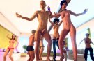 Erotic sex party with girls in games