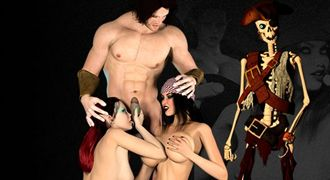 Pirate Jessica porn game with XXX elf orgies