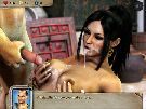 Cumface of busty female warrior in xxx simulator