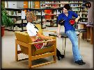 Sexy schoolgirl talks with boyfriend in a library